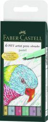 Sivellinkynä Pitt Artist Pen, 6 pastelliväriä/sarja