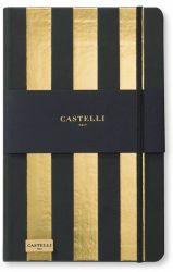 Muistikirja Stripes A5, kulta/musta, viivat