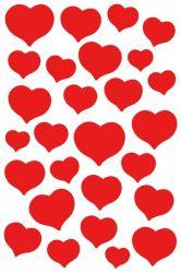 Magic-tarra  Punaiset sydämet 27 tarraa