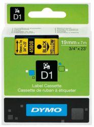 Tarrakasetti  D1 19mmx7m musta/keltainen