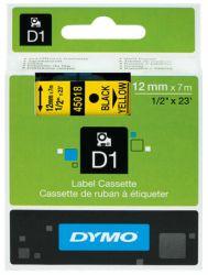 Tarrakasetti  D1 12mmx7m musta/keltainen