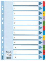 Hakemisto A4 1-12 muovikielekkeet