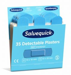 Sininen muovilaastari Salvequick, täyttöpakkaus 6x35/ras