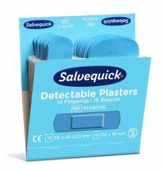 Sininen muovilaastari Salvequick, sormenpää/normaali 6x30/ras