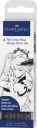 Sivellinkynä Pitt Manga, musta, 4 kpl/sarja