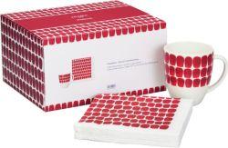 Lahjapakkaus Tuokio muki 0,34L punainen & Tuokio servetti 33x33cm 20kpl punainen