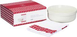 Lahjapakkaus Uunikokki uunivuoka pyöreä 1,5L & Tuokio keittiöpyyhe 43x67cm punainen