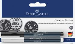 Creative Marker merkintäkynä riippupakattu valkoinen/musta 2 kynää/pakkaus